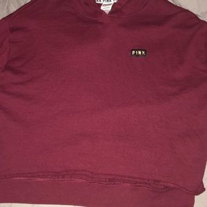 """Burgundy """"PINK"""" crop top hoodie"""